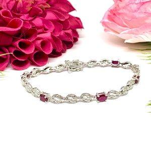 Jewelry - ⚜️STERLING SILVER & Ruby Crystal Tennis Bracelet